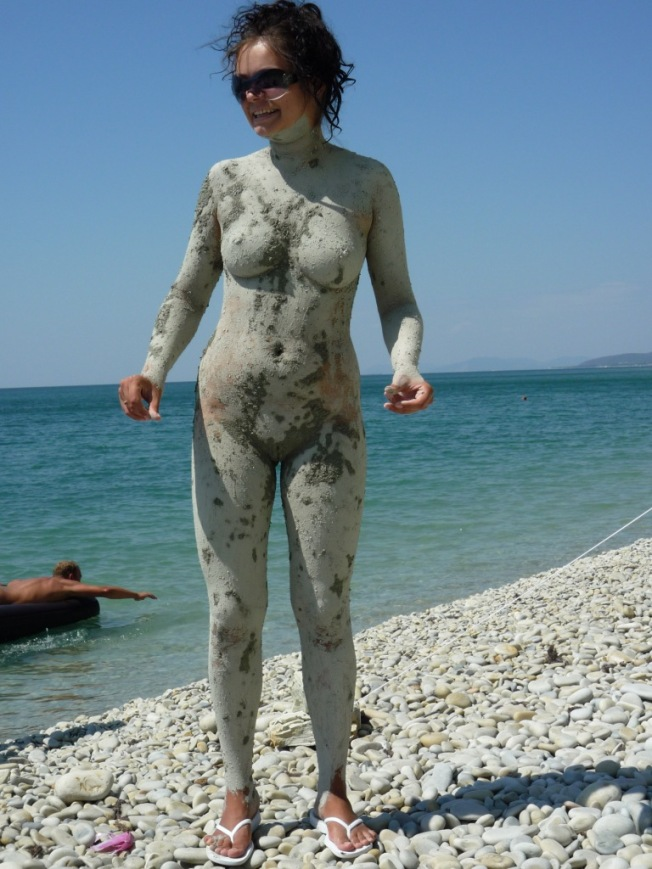 Mud bath nude