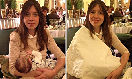 Louise Burns breastfeeding her baby while having tea with her family – and with the napkin she was t