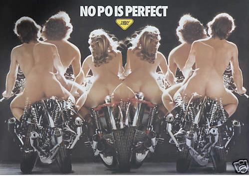 Original Vintage Poster Nude Naked Biker Motorcycle Po