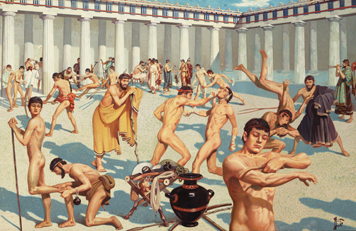 Ancient Greek athletes practice their skills.