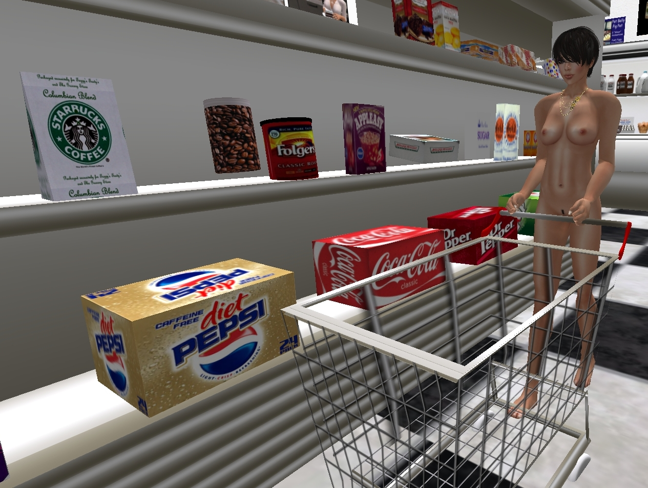 Naked in a supermarket