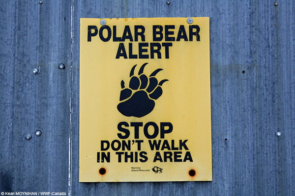 A sign warns people away from a polar bear holding area in near the Churchill Northern Studies Centre, Churchill, Manitoba, Canada