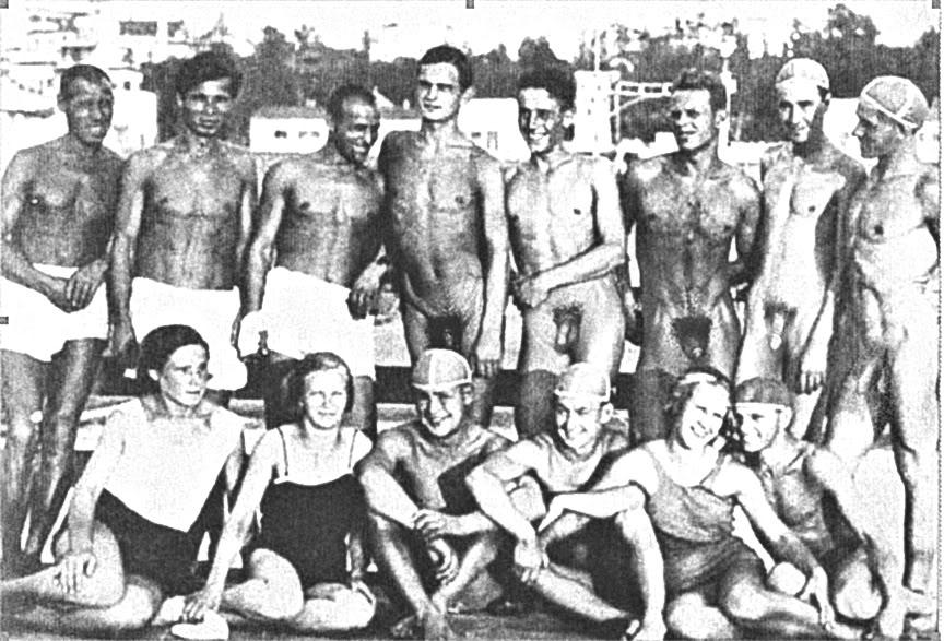 Ретро Фотографии Обнаженных Пловцов